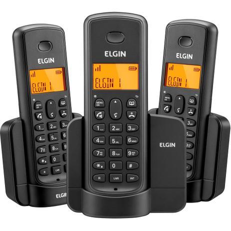 Imagem de Telefone sem Fio + 2 Ramais Adicionais Preto TSF 8003 Elgin