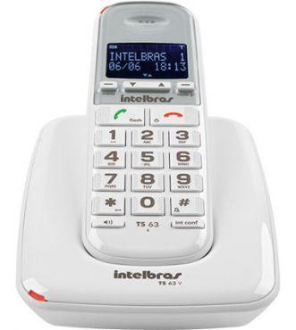 Imagem de Telefone Sem Fio Com Ident Chamada TS 63 V Branco Intelbras