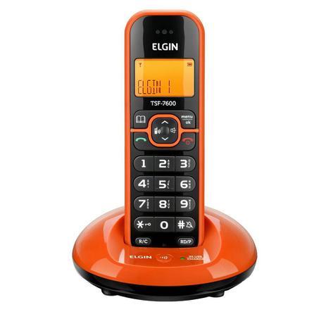 Imagem de Telefone sem Fio Elgin TSF 7600 com Identificador de Chamada Laranja