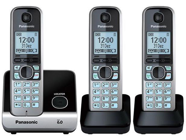Telefone Sem Fio Panasonic KX-TG6713LBB 2 Ramais - Identificador de Chamada Viva Voz Preto