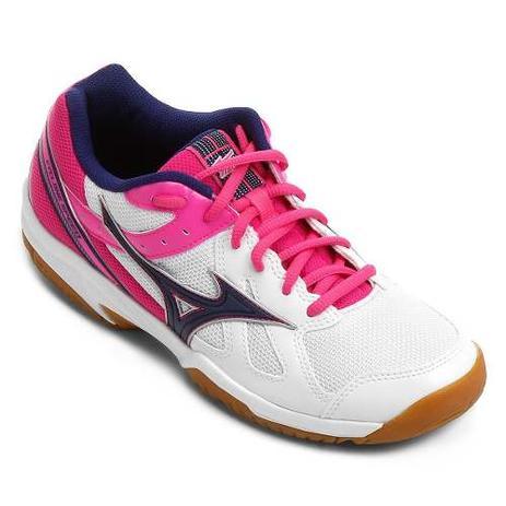 Tênis Mizuno Cyclone Speed Indoor - Branco Rosa - Tênis de Futsal ... 918ecd5a4d62f