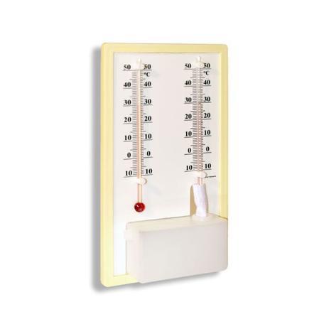 Imagem de Termo Higrômetro Bulbo seco e úmido -10+50:1C Liquido Base Plastica 190 X 106MM
