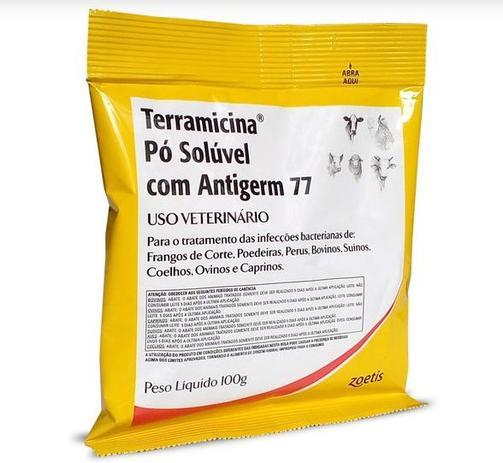 Imagem de Terramicina Antibacteriana Zoetis Pó Solúvel Para Aves Bovinos Ovinos E Suínos 100g