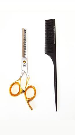 Imagem de Tesoura desbaste dentada profissional barbeiro cabeleireiro rai 7 polegadas.