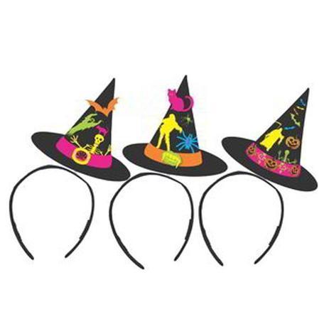 Tiara Halloween Chapéu de Bruxa Brilha 10 unidades Festança ... 1d7e0732060