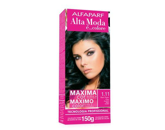 Imagem de Tinta alta moda alfaparf kit cor 1.11 ouro negro preto azulado