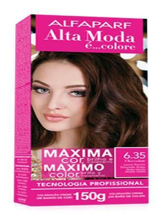 Imagem de Tinta alta moda alfaparf kit cor 6.35 chocolate louro escuro dourado acaju