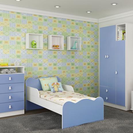 Quarto Infantil Completo Com Guarda Roupa 3 Portas Mini Cama Comoda Nicho E Bau Fofinho Art In Moveis Azul
