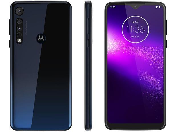 "Smartphone Motorola One Macro 64GB Azul Espacial - 4G 4GB RAM Tela 6,2"" Câm. Tripla + Câm. Selfie 8MP"