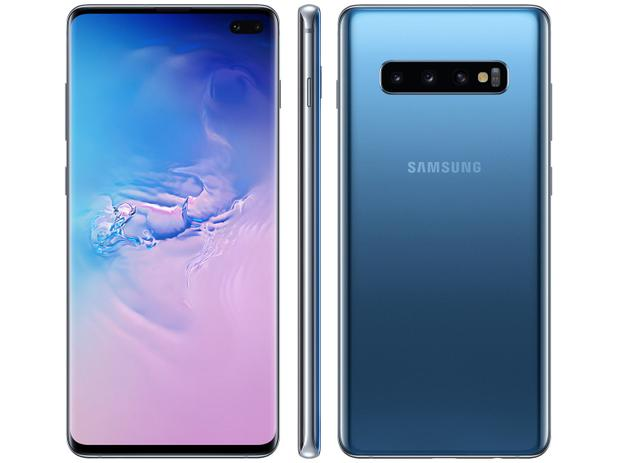 """Smartphone Samsung Galaxy S10+ 128GB Azul - 8GB RAM 6,4"""" Câm. Tripla Câm. Selfie Dupla"""