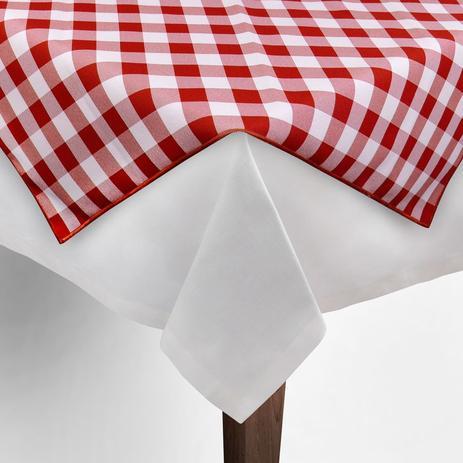Imagem de Toalha de Mesa Cobre Mancha Quadrado em Tecido Xadrez Vermelho e Branco 0,80m