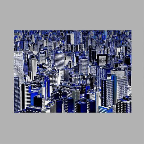 Imagem de Toalha de mesa decorativa, criativa, colorida e descolada  Vista aérea de prédios azuis  tamanho
