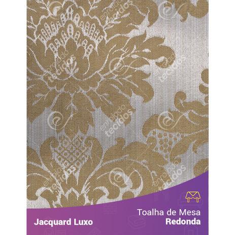 57725f0f2 Toalha de Mesa Redonda em Tecido Jacquard Dourado Medalhão Luxo - Jacquard  luxo