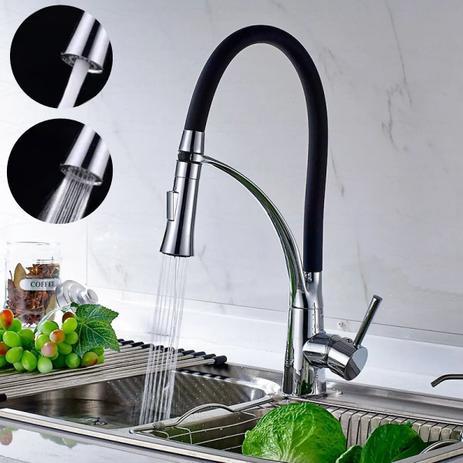 Imagem de Torneira Cozinha Gourmet Monocomando Flexível Preta