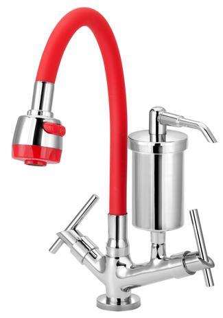 Imagem de Torneira Gourmet Com Filtro Flexível de Cozinha Mesa Vermelha 1/4 de Volta