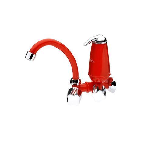 Imagem de Torneira para Cozinha de Parede com Filtro E Bica Móvel Acqua Vermelha