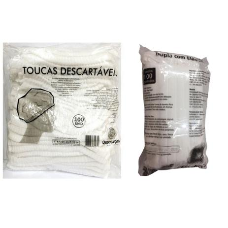 Imagem de Touca descart + Mascara descart c/elastico 100 unidades