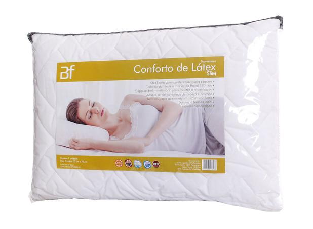 8bcf6c454a74 Travesseiro Conforto Látex Slim Com Capa Percal 180 Fios Zíper - Bf colchões
