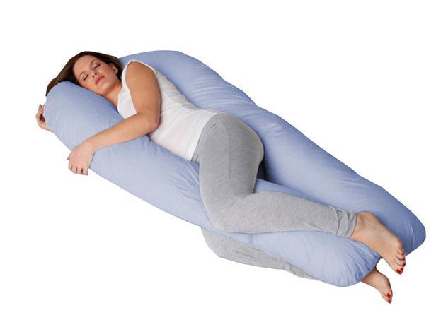 728774213c6603 Travesseiro de Corpo Gigante Formato U com Fronha Azul - Fassini têxtil