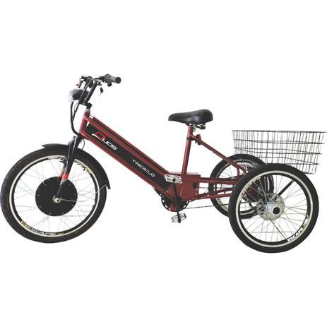 Imagem de Triciclo Elétrico 800W com Pedal e Freio a Disco Vermelho Cereja