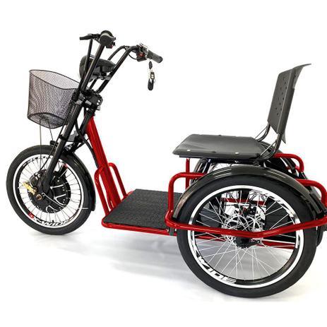 Imagem de Triciclo Elétrico Fox 800w Freio-Disco e Ré Vermelho - Duos Bike