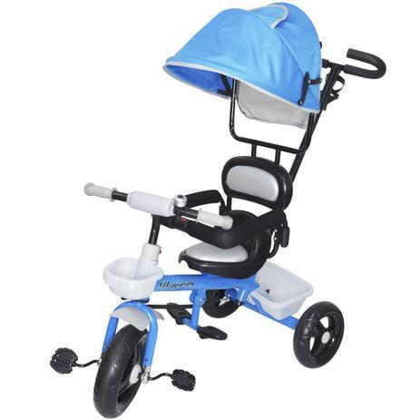 Imagem de Triciclo Infantil com Capota Haste Empurrador com Pedal Motoca 2 em 1 Brinqway BW-084AZ Azul