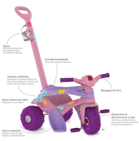 Imagem de Triciclo Motoca Infantil Bandeirante 842 Passeio E Pedal Flower Rosa