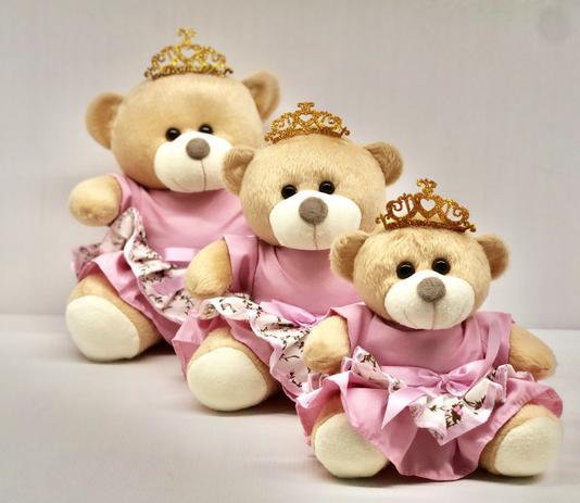 Imagem de Trio De Ursinhos Para Nichos 15cm 20cm 25cm Coroa - Princesa