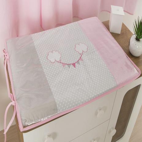 Imagem de Trocador Para Cômoda De Bebe 02 Peças 70cm x 50cm Tecido Misto Menina Balão - Rosa