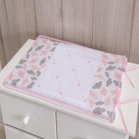 Imagem de Trocador Para Cômoda De Bebe 02 Peças 70cm x 50cm Tecido Misto Menina Nuvem - Rosa