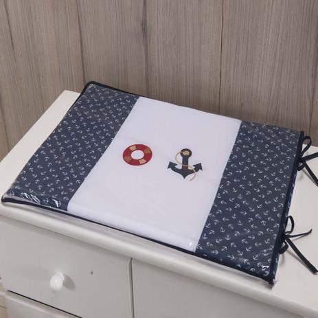 Imagem de Trocador Para Cômoda De Bebe 02 Peças 70cm x 50cm Tecido Misto Menino Urso Marinheiro - Azul marinho