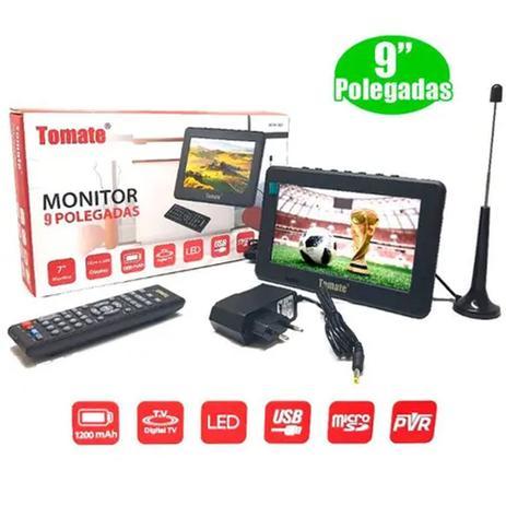 Imagem de Tv Digital Portátil Led Monitor 9 Pol Micro Sd Com Antena Mtm-909