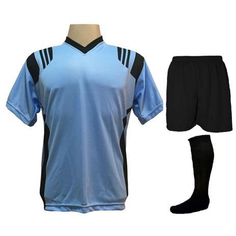 Uniforme Completo modelo Roma 18+2 (18 Camisas Celeste Preto + 18 Calções  Madrid Preto + 18 Pares de Meiões Pretos + 2 Conjuntos de Goleiro) +  Brindes ... 4f8e39dc37f03
