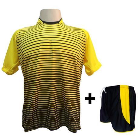 Uniforme Esportivo com 12 camisas modelo City Amarelo Preto + 12 calções  modelo Copa Preto Amarelo + Brindes - Play fair 46450487b2d76