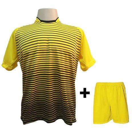 Uniforme Esportivo com 12 camisas modelo City Amarelo Preto + 12 calções  modelo Madrid + 1 Goleiro + Brindes - Play fair 68bc7e2a8c7e8