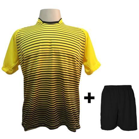 96a4f61e67 Uniforme Esportivo com 12 camisas modelo City Amarelo Preto + 12 calções  modelo Madrid + 1 Goleiro + Brindes - Play fair