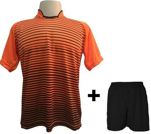 Uniforme Esportivo com 12 Camisas modelo City Laranja Preto + 12 Calções  modelo Madrid Preto - Play fair 526ca9256e485