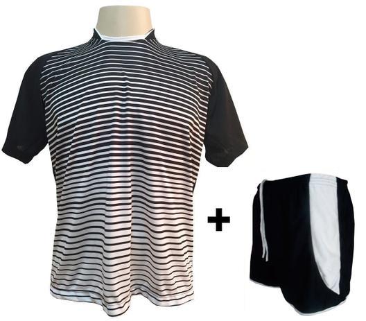 Uniforme Esportivo com 12 camisas modelo City Preto Branco + 12 calções  modelo Copa + 1 Goleiro + Brindes - Play fair e41cdc93965d8