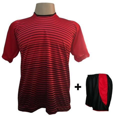 Uniforme Esportivo com 12 camisas modelo City Vermelho Preto + 12 calções  modelo Copa Preto Vermelho + Brindes - Play fair cf9ba270b58d4