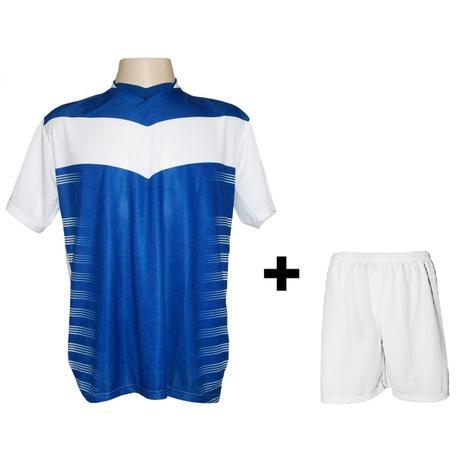 Uniforme Esportivo com 12 camisas modelo Dubai Branco Royal + 12 calções  modelo Madrid Branco + Brindes - Kanga sport 567cde8c319a5