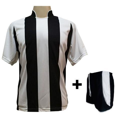 Uniforme Esportivo com 12 Camisas modelo Milan Branco Preto + 12 Calções  modelo Copa Preto Branco - Play fair e800d2a544304