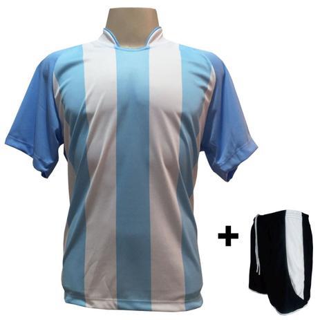 Uniforme Esportivo com 12 Camisas modelo Milan Celeste Branco + 12 Calções  modelo Copa Preto Branco - Play fair e6640911f2314