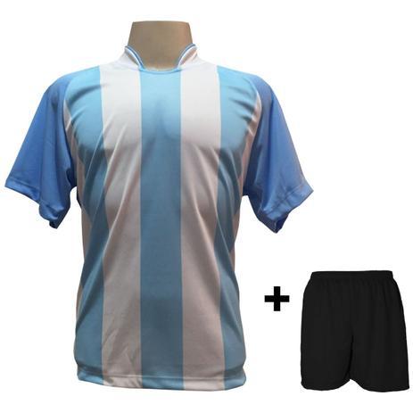 0aec0db976 Uniforme Esportivo com 12 camisas modelo Milan Celeste Branco + 12 calções  modelo Madrid + 1 Goleiro + Brindes - Play fair
