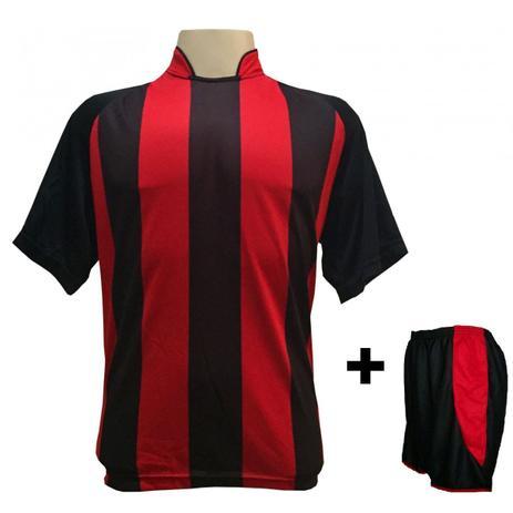 Uniforme Esportivo com 12 camisas modelo Milan Preto Vermelho + 12 calções  modelo Copa Preto Vermelho + Brindes - Play fair 3ced6604125f2