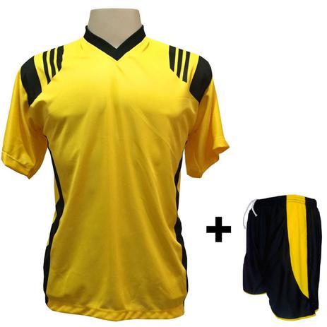 Uniforme Esportivo com 12 camisas modelo Roma Amarelo Preto + 12 calções  modelo Copa Preto Amarelo + Brindes - Play fair e45167e8ddf1c
