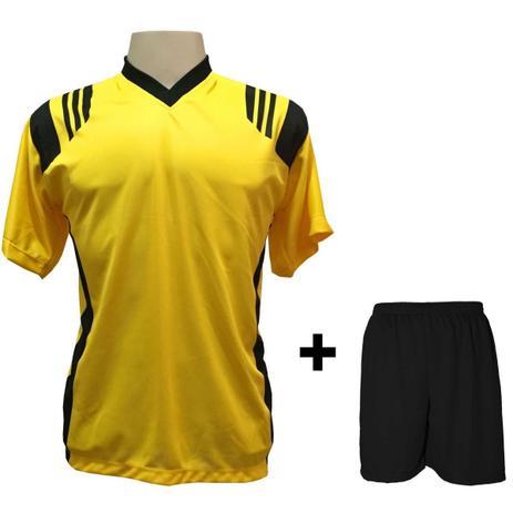 28f96f7491 Uniforme Esportivo com 12 Camisas modelo Roma Amarelo Preto + 12 Calções  modelo Madrid Preto - Play fair