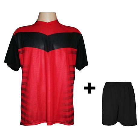 fdec41a608 Uniforme Esportivo com 14 camisas modelo Dubai Preto Vermelho + 14 calções  modelo Madrid + 1 Goleiro + Brindes - Kanga sport