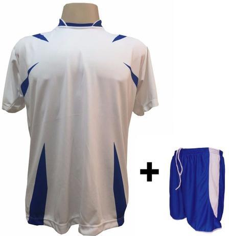 4dd1e63b5b Uniforme Esportivo com 14 Camisas modelo Palermo Branco Royal + 14 Calções  modelo Copa Royal Branco - Play fair