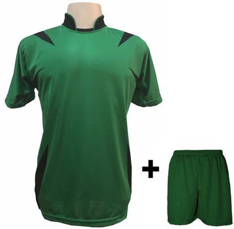 Uniforme Esportivo com 14 camisas modelo Palermo Verde Preto + 14 calções  modelo Madrid + 1 Goleiro + Brindes - Play fair db56c6053cf68