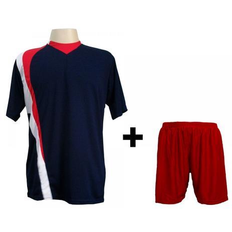 d80cd5c3d5359 Uniforme Esportivo com 14 camisas modelo PSG Marinho Vermelho Branco + 14  calções modelo Madrid Vermelho + Brindes - Gazza